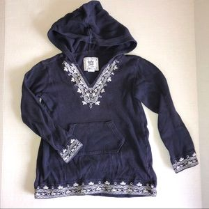 Embroidered Sweater Hoodie Pullover Navy Blue GAP